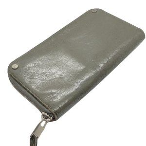 Balenciaga Pre-Owned Gray Crackled Leather Zip Around Long Wallet